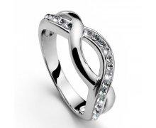Strieborný prsteň s krištáľmi Swarovski Oliver Weber Twist 8b44fcb4432