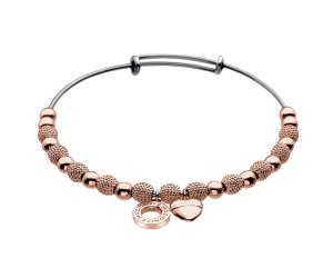 Oceľový náramok Hot Diamonds Emozioni Rose Gold Ula Bangle