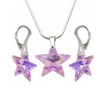 Strieborná sada s krištáľmi Swarovski Star Rosaline 496205 7ac04235856