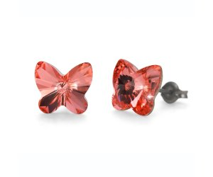 Náušnice Oliver Weber so Swarovski krištáľmi Sensitive PE Butterfly rose peach